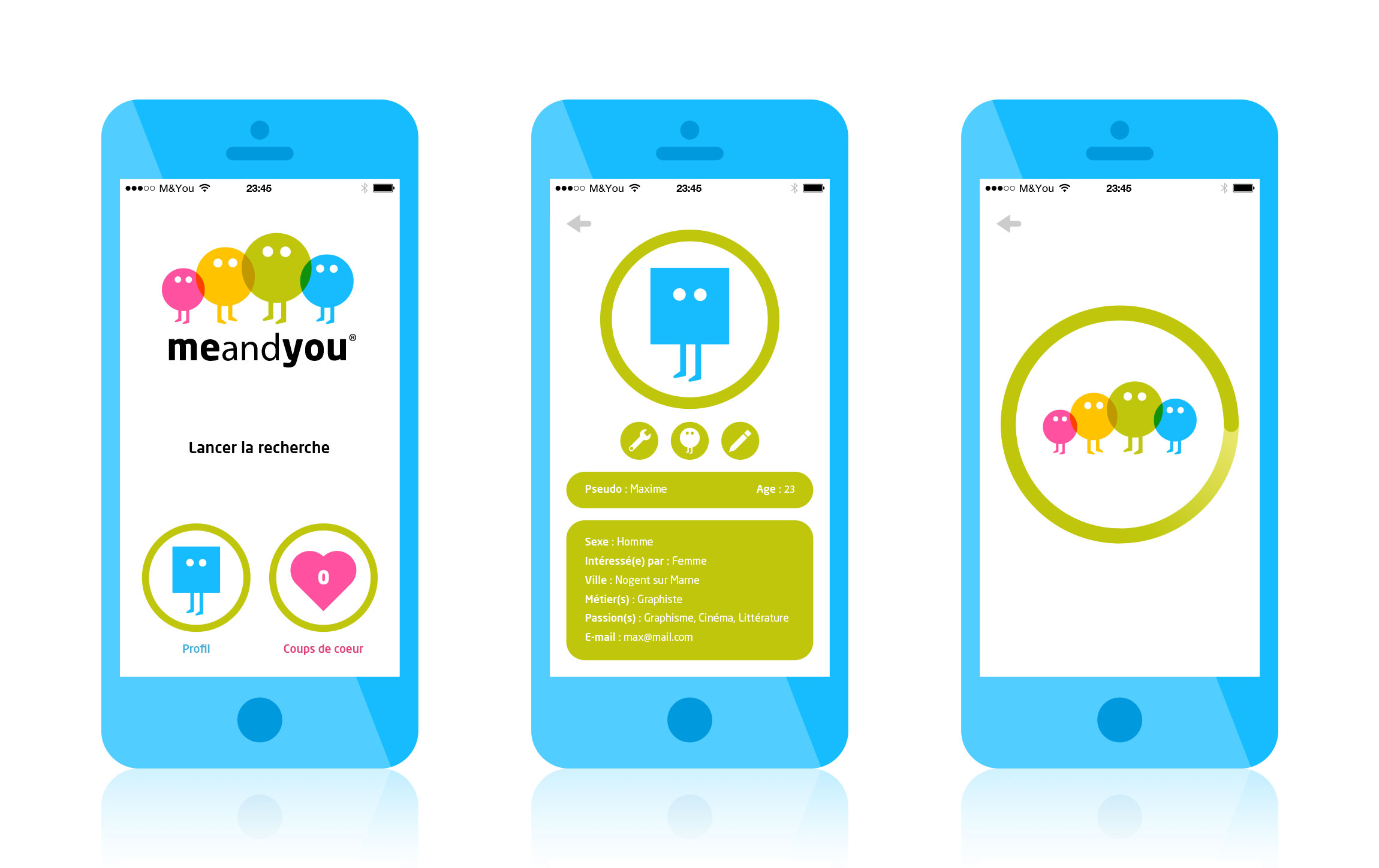 Création ux design application Me and You