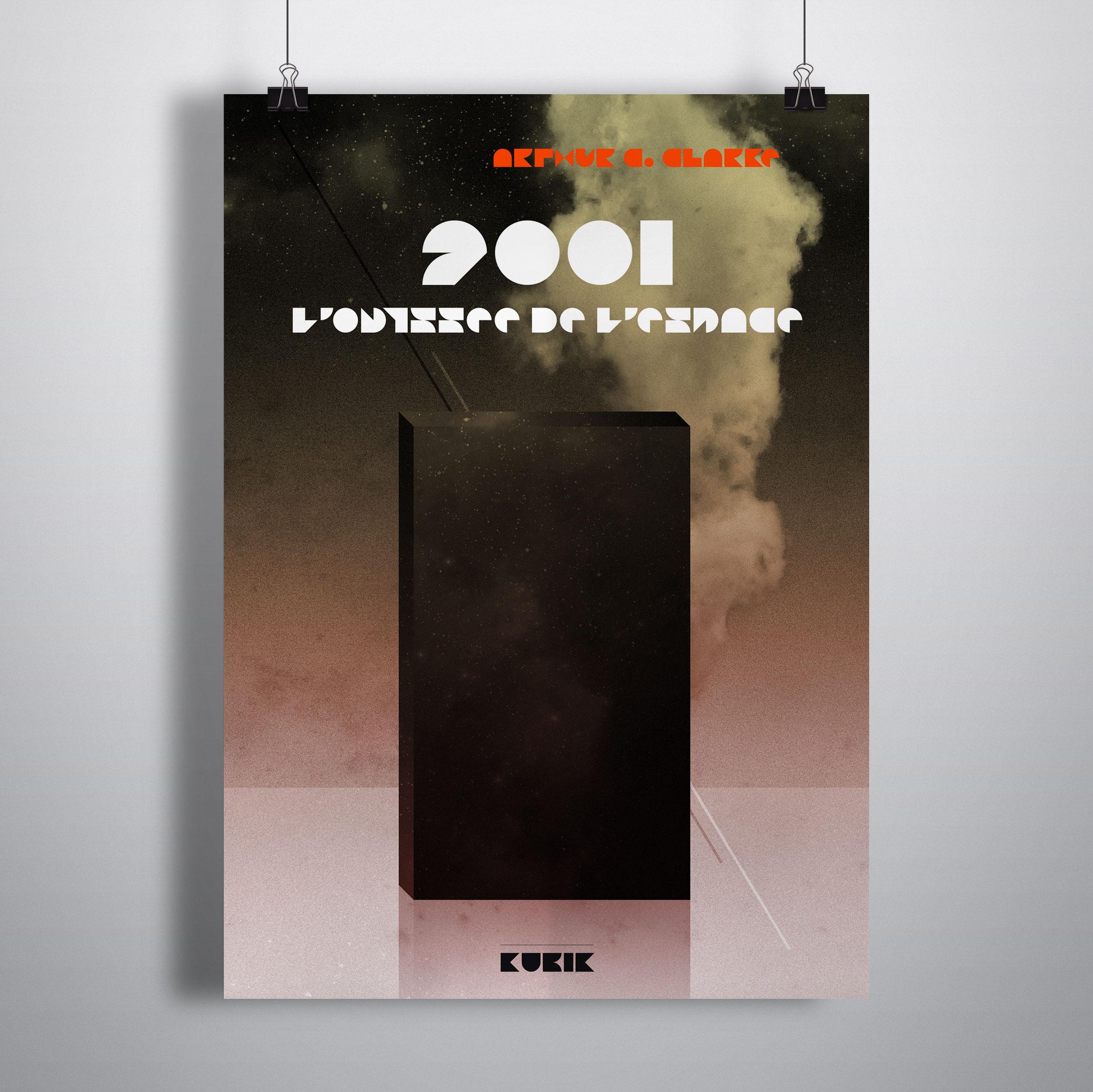 Création affiche 2001 L'ODYSSÉE DE L'ESPACE de Arthur C.CLARKE pour KUBIK