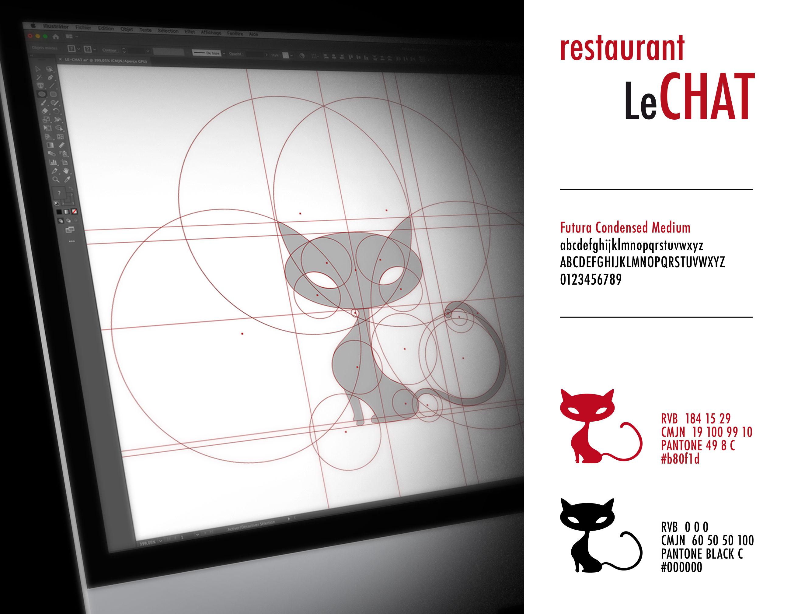 Création charte graphique restaurant Le Chat