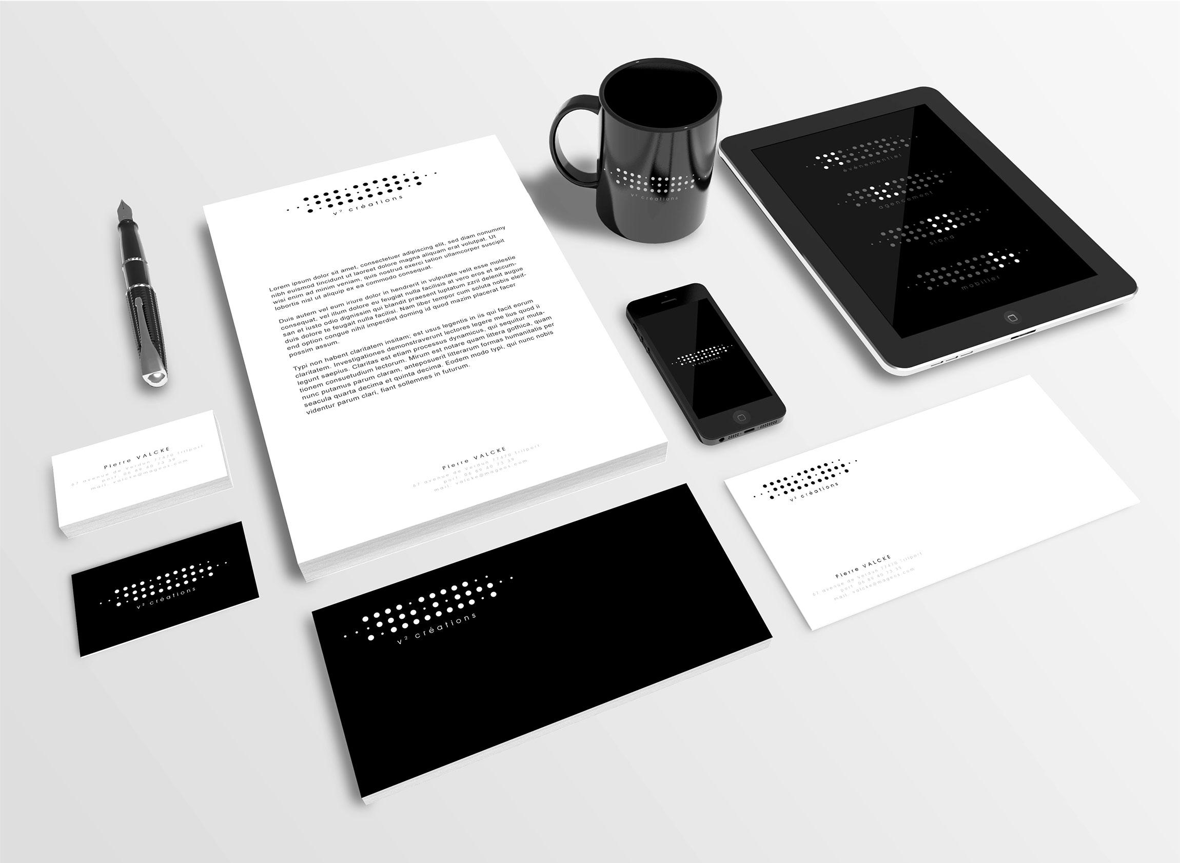 """Création identité visuelle """"V2 Créations"""". Conception logo, papeterie, carte de visite, en-tête de lettre, pictos."""