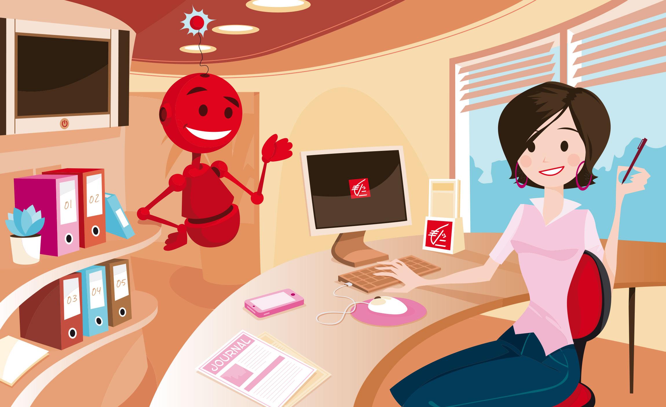 Création illustration et mascotte application formation Caisse d'Epargne