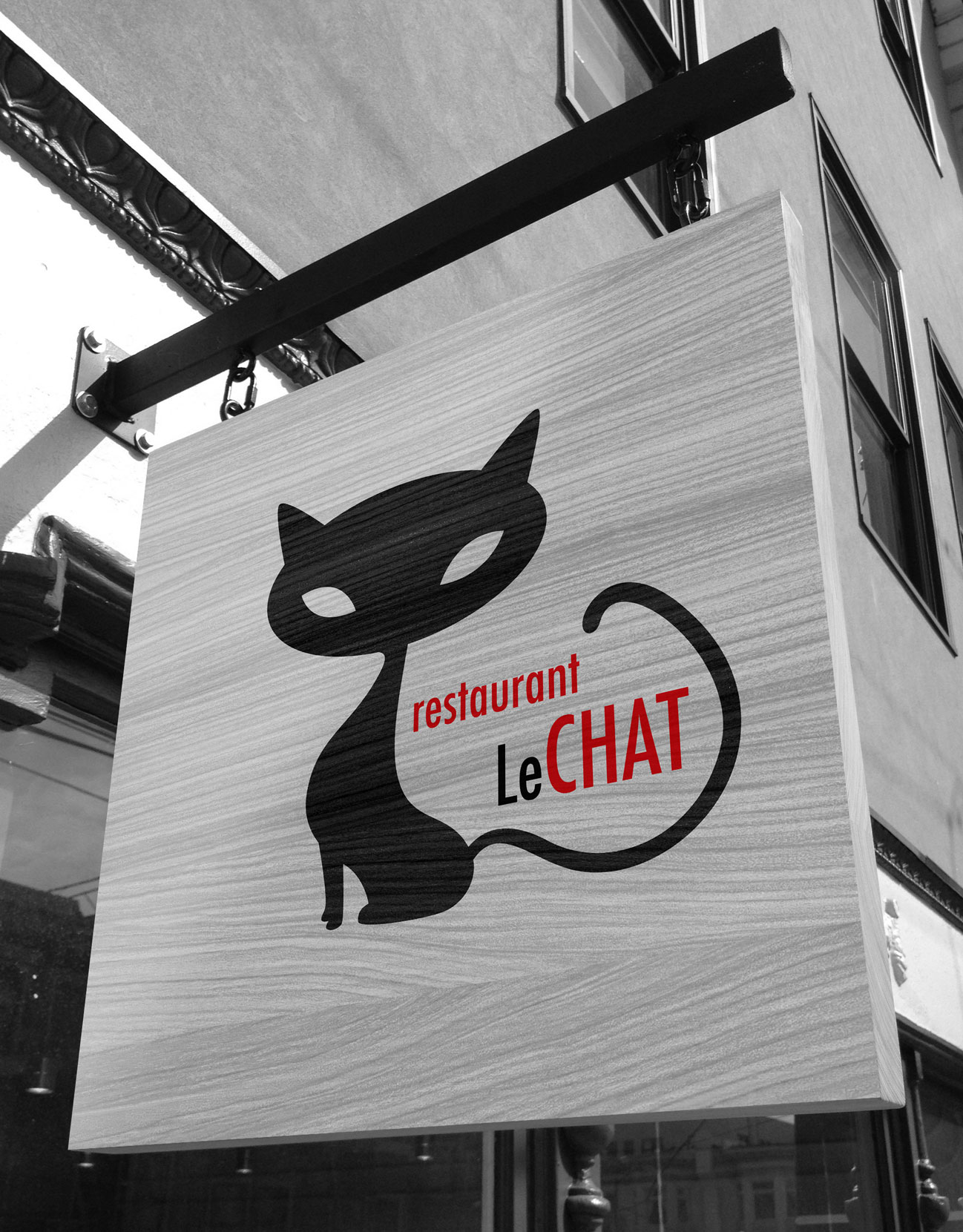 Création enseigne pour le restaurant Le Chat