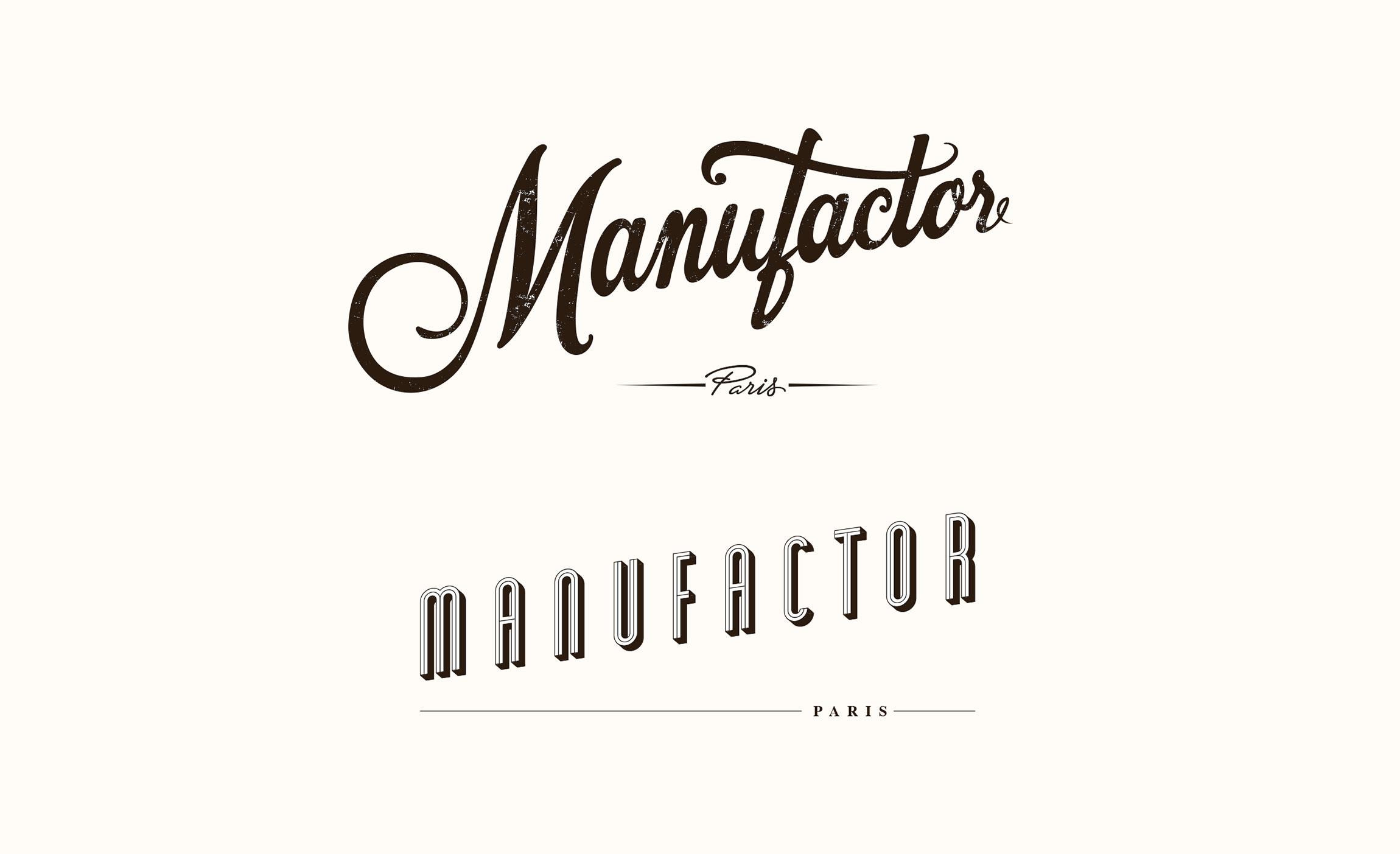 Recherches logos pour MANUFACTOR.