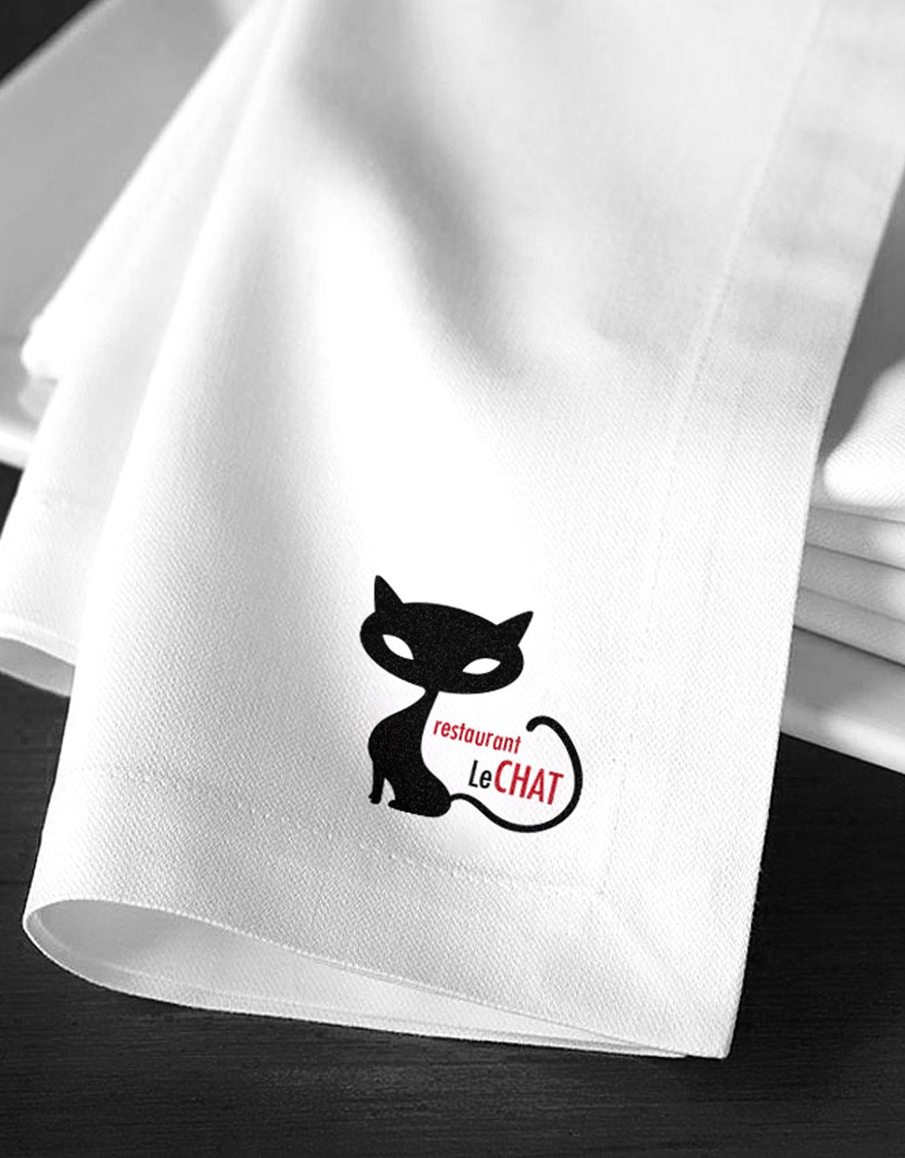 Logo sur serviette pour le restaurant Le Chat