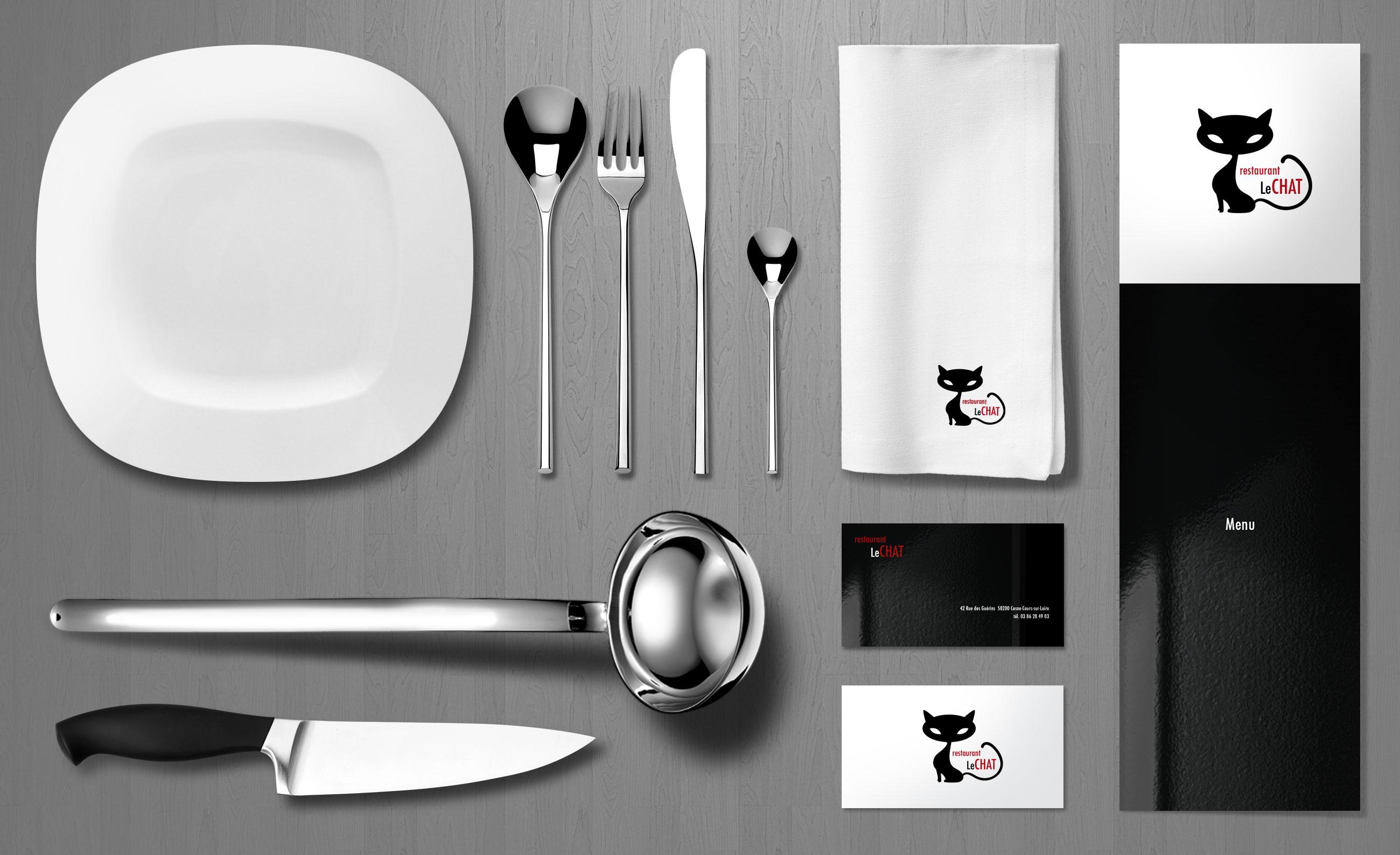 Identité visuelle restaurant Le Chat