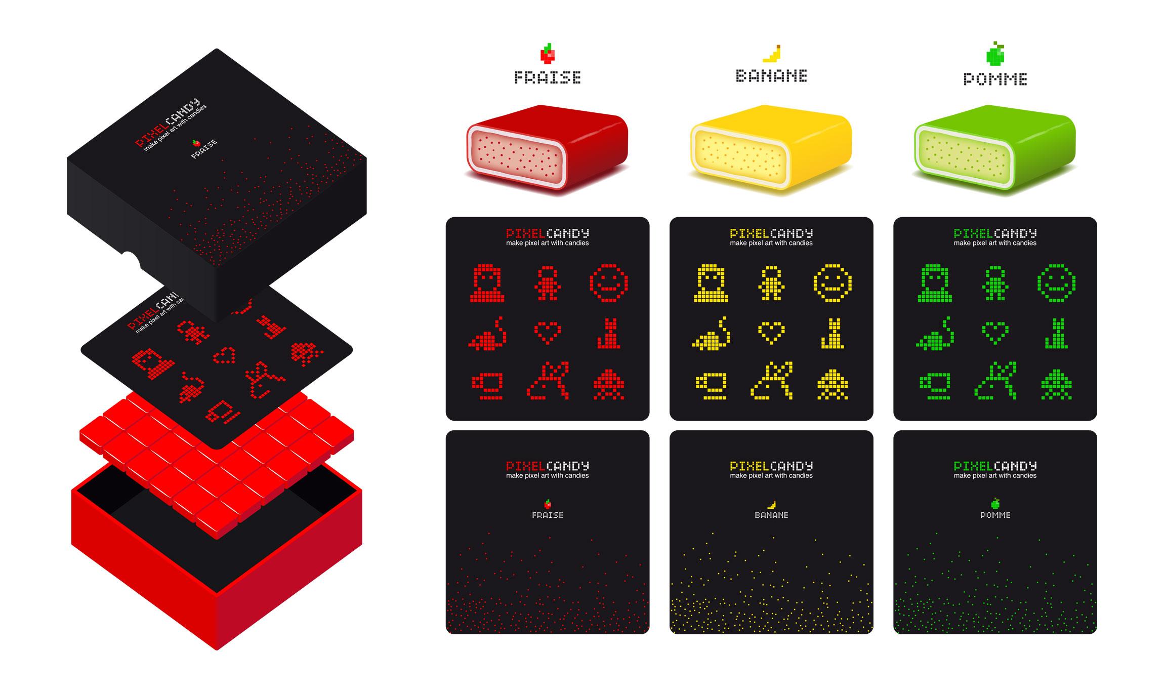Design graphique boîte pixel candy
