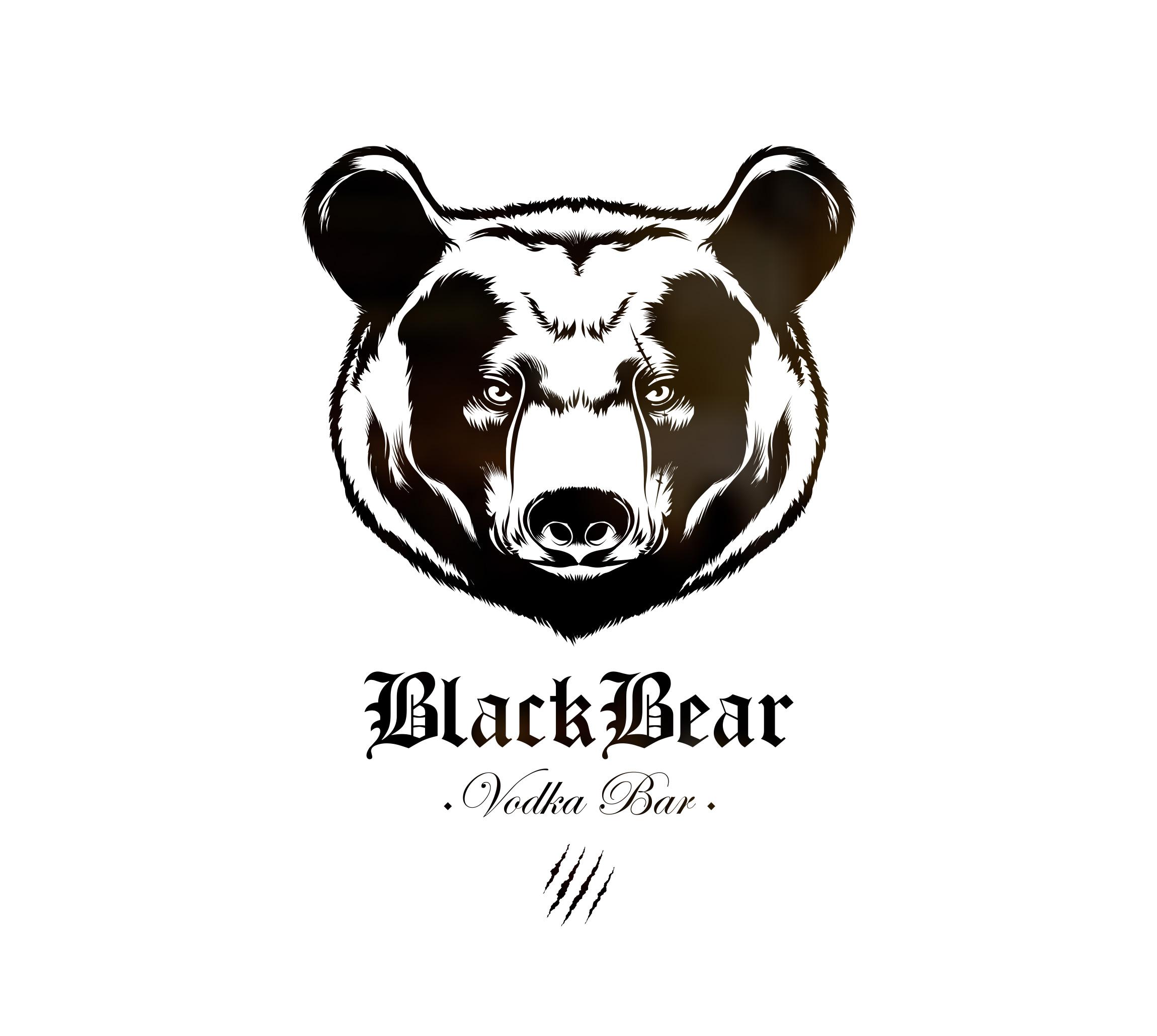 """Création logo, menu, illustration, identité visuelle pour le bar à vodka """"BLACK BEAR"""""""