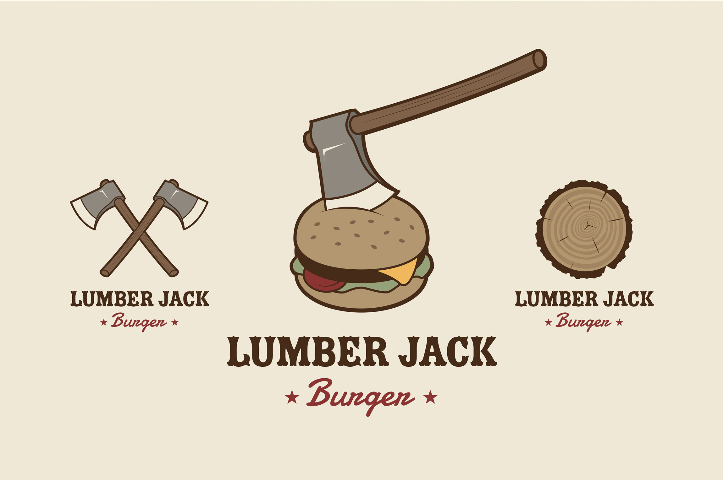 Création logo, mascotte, sticker, packaging pour le restaurant LUMBER JACK Burger