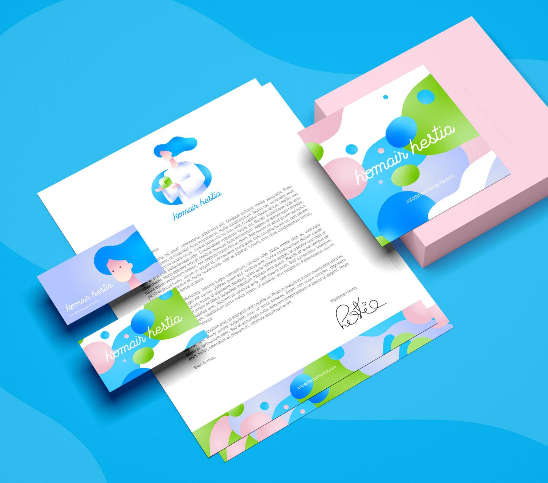 création logo, en-tête de lettre, carte de visite pour homair hestia